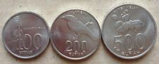 Indonesia set coins - 100 (1999), 200 (2003) & 500 (2003) Rupiah coin