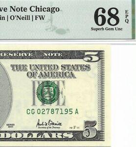 2001 $5 CHICAGO FRN, PMG SUPERB GEM UNCIRCULATED 68 EPQ BANKNOTE
