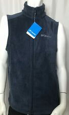 Columbia Granite Mountain Vest Men's Size Small Blue Zip Front Fleece Nwt