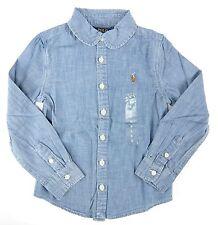 Polo Ralph Lauren Girls Shirt Size 5 Blue Cotton Button-Front Long Sleeve New