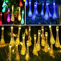 20/30/50 Solar LED String Drop Fairy Tree Lights Xmas Party Outdoor Lamp Decor