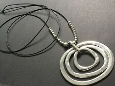 Long Black Real Leather Statement Necklace With A Huge Circles pendant Lagenlook