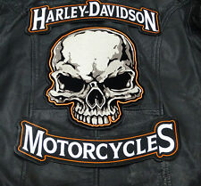 HARLEY 12 INCH TOP BOTTOM ROCKER WITH 10 INCH SKULL FACE 3PC BACK PATCH