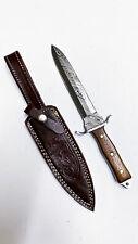 CUSTOM HAND FORGED DAMASCUS STEEL DAGGER KNIFE-NATURAL WOOD HANDLE- B-715