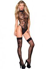 Sexy Jacquard Swirl Teddy With Matching Stockings Bodysuit Body Stocking Womens