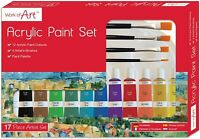 17 Pcs Art Artists Acrylic Paint Set 12 Tubes, 4 Brushes and Palette included