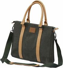 V-Pax Durable 16 in. Canvas Laptop Briefcase w/ Leather Handles & Shoulder Strap