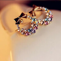 Jewelry Women Colorful Crystal Rhinestone Gold Bowknot Ear Stud Earring Fashion