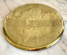 Art Deco Egyptian Revival Brass Tray Dogs Basenji Greyhound Pharoah Gazelle