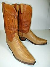 LUCCHESE 11 D EXOTIC SMALL SCALE PYTHON CUSTOM 1883 BOOTS HONEY RANCH /SAND VGC