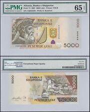 Albania 5,000 (5000) Leke, 2007, P-75, UNC, G. Kastrioti, PMG 65 EPQ