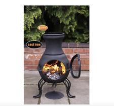 NEW Billie Cast Iron Chiminea Outdoor Garden Fire Pit Chimneys Log Burners Grill