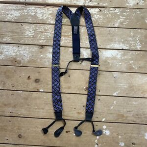 Italian Silk and Leather Braces Suspenders Houndstooth Made In Italy Horsebit