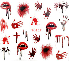 Halloween Nail Nails Art Water Transfer Decal Wraps Stickers Boo Spiders Blood