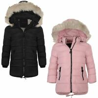 Girls Long Down Quilted Winter Parka Jacket Kids Detach Hood Zip Coat 3-14 Years