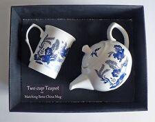 Blue Willow Pattern 2 Cup Teapot With Matching Bone China Mug - Gift Boxed.