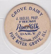 Grove Dairy-J. Kadlec milk cap-Fox River Grove, Illinois