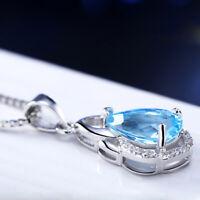 Shiny Titanic Ocean Blue Topaz Gesmtone SIlver Necklace pendant HL0014