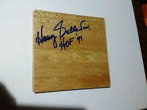 Harry Gallatin HOF 91 NBA Signed 6x6 Floor Board St. Louis Hawks New York Knicks