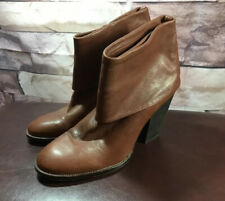 VInce Camuto Women's Brass Brown Leather Cuff Foldover Ankle Boots Booties 9B