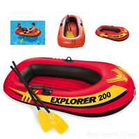 Intex Boating Explorer Raft Pool Floats 2 Person Inflatable French Oars Air Pump