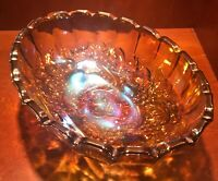 Indiana Harvest Grape Amber Carnival Glass Footed Oval Fruit Bowl