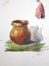IMPRESSIONIST COMPOSITION WATERCOLOR PAINTING STILL LIFE POT SIGNED
