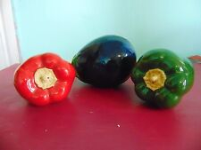 Ceramic Red And Green Bell Peppers and Eggplant