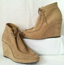 NWOBX $965 Balenciaga Tan Suede Wedge Lace Front Ankle Boots Women's SZ 38.5