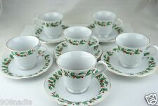 Pearl NOEL Liling China Cup/Saucer Christmas Holly Black Backstamp Set 12PC B