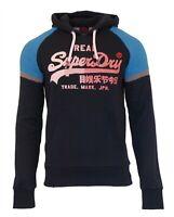Superdry Mens New Vintage Logo 1st Raglan Hoodie Overhead Sweatshirt Navy