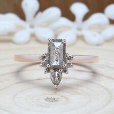 Salt And Pepper Emerald Diamond 14K Solid Gold Engagement Wedding Ring KDN9871