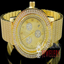 Men's Big Face Iced Out Stainless Steel Tarnish Free Wrist Metal Watch W/ Date
