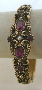Vintage Amethyst Rhinestone Clamper Bracelet Avon
