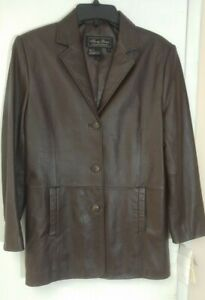 TERRY LEWIS WOMAN'S BROWN GENUINE  SOFT LEATHER JACKET COAT SIZE S