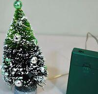 "VINTAGE  BOTTLE BRUSH LIGHTED CHRISTMAS TREE 6"" TALL  MERCURY BULBS W/ BASE"