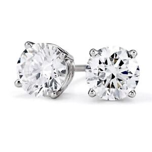 Diamond Stud Earrings SI1-2 GH 14K White Rose Yellow Gold 9 Sizes Stunning