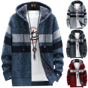 Mens Thick Warm Fleece Lined Hooded Hoodie Winter Zip Up Coat Jacket Sweatshirt