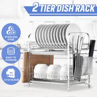 2 Layer Stainless Steel Dish Rack Drainer Kitchen Plate Holder Tray Dryer SPZ