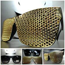 Men Women VINTAGE Style SUN GLASSES Matte Black Frame Detachable Gold Mesh Cover