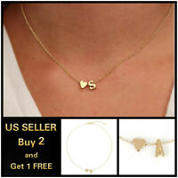 26 Alphabet Initial Letters Heart Gold Necklace Chain Pendant Bridesmaid Jewelry