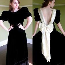 Regal Black Velvet Formal Ball Gown Long Dress Deep V Back Cream Satin Bow S M