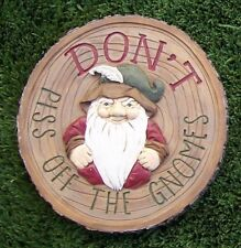 Garden Path Stepping Stone Wall Plaque Don't Piss Off the Gnomes NEW 8 3/4""