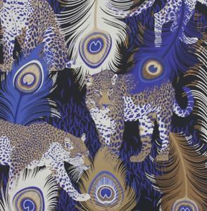 Leopardo Black/Electric Blue/Metallic Bronze Wallpaper by Matthew Williamson