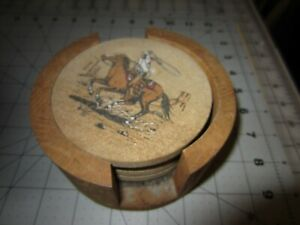 4 COWBOY ROPING COASTERS IN WOOD STAND CORK BOTTOMS