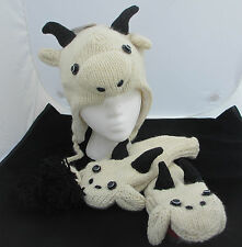 Billy GOAT HAT & MITTENS SET knit ADULT costume FLEECE LINED Farmer animal sheep