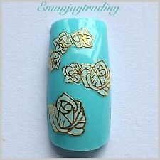 Nail Art 3D Decals/Stickers White Flowers Gold Edging #147