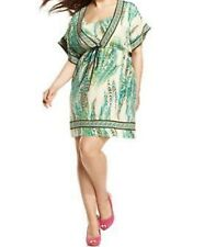 INC International Concepts Woman Dress Sz 14W Green Botanical Print Tunic dress