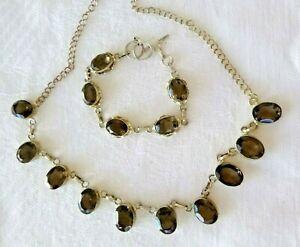 Amazing Artisan Smoky Quartz Necklace Earrings Set Sterling Silver 55.6 Grams