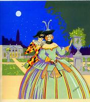 1930s French Pochoir Print Grimbert Victorian Masquerade Ball Harlequin Princess